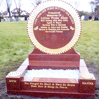 Sunflower Design Memorial Stone